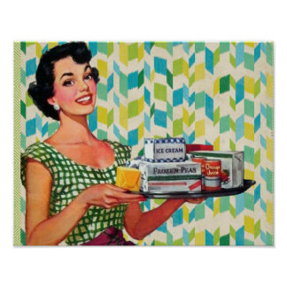 Retro Vintage 50's Housewife Holding Food Poster