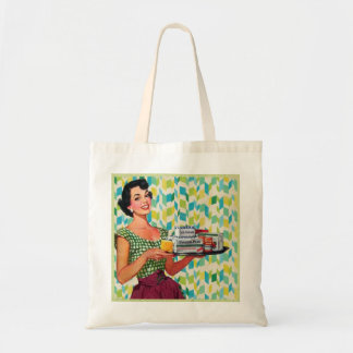 Retro Vintage 50's Housewife Holding Food Tote Bag