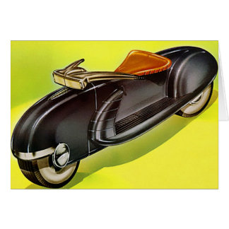 Retro vintage 50's Motorcycle of the Future Card