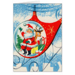 Retro Vintage Advertisement Helicopter Santa Greeting Card