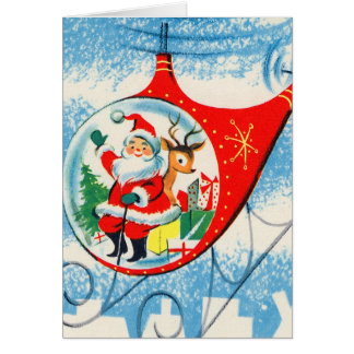 Retro Vintage Advertisement Helicopter Santa Card