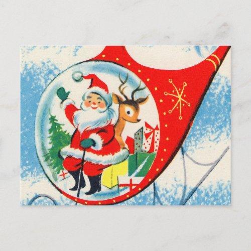 Retro Vintage Advertisement Helicopter Santa Holiday Postcard