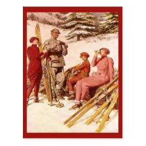 Retro vintage advertising, Ski poster, skiers Postcard