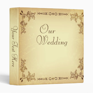 Retro Vintage Aged Paper Wedding Photo Album 3 Ring Binder