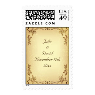 Retro Vintage Aged Paper Wedding Save The Date Postage Stamp