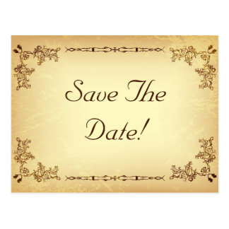 Retro Vintage Aged Paper Wedding Save The Date Postcard