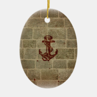 Retro Vintage Anchor Pattern Double-Sided Oval Ceramic Christmas Ornament