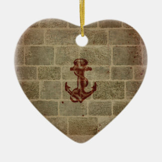 Retro Vintage Anchor Pattern Double-Sided Heart Ceramic Christmas Ornament