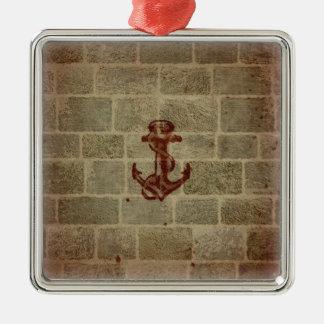 Retro Vintage Anchor Pattern Square Metal Christmas Ornament
