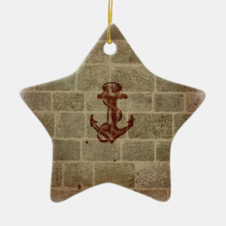 Retro Vintage Anchor Pattern Double-Sided Star Ceramic Christmas Ornament