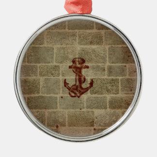 Retro Vintage Anchor Pattern Round Metal Christmas Ornament