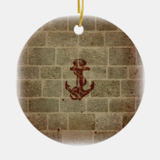 Retro Vintage Anchor Pattern Double-Sided Ceramic Round Christmas Ornament