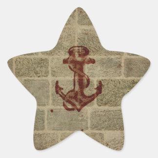 Retro Vintage Anchor Pattern Star Sticker
