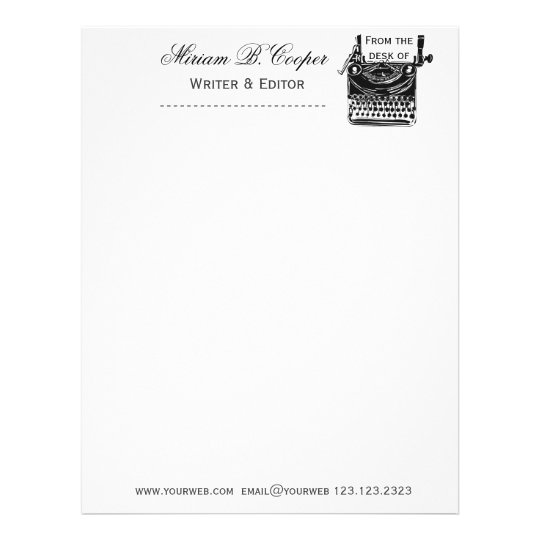 Retro vintage antique typewriter professional letterhead zazzle retro vintage antique typewriter professional letterhead spiritdancerdesigns Image collections