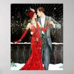"Retro vintage art deco Christmas couple Poster<br><div class=""desc"">design by www.etsy.com/Shop/VanityFlairDesigns</div>"