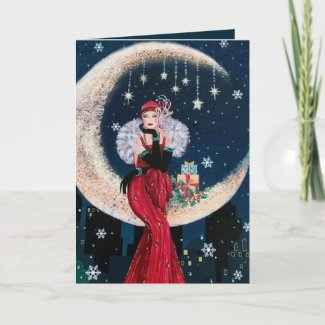 Retro vintage art deco lady Christmas Holiday Card