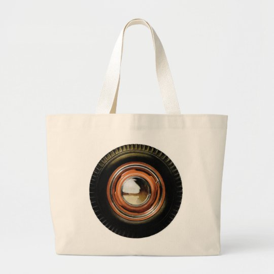 Retro Vintage Auto Car Big Old Tire Large Tote Bag