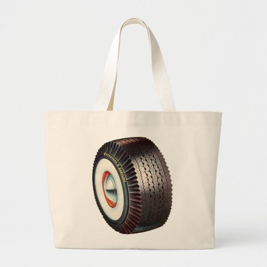 Retro Vintage Auto Car Big Whitewall Tire Large Tote Bag