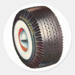 Retro Vintage Auto Car Big Whitewall Tire Round Stickers