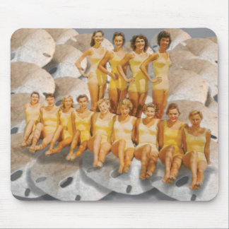 Retro Vintage Bathing Beauties on Sand Dollars Mouse Pad