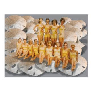 Retro Vintage Bathing Beauties on Sand Dollars Post Card