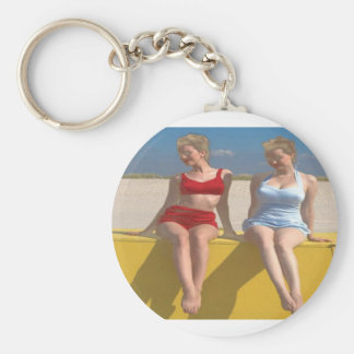 Retro Vintage Bathing Beauties Sitting on the Dock Basic Round Button Keychain