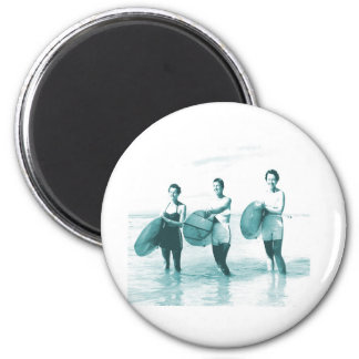 Retro Vintage Bathing Beauties Surfing 2 Inch Round Magnet