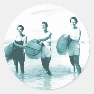 Retro Vintage Bathing Beauties Surfing Classic Round Sticker