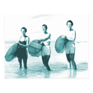 Retro Vintage Bathing Beauties Surfing Post Card