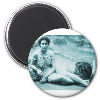 Retro Vintage Bathing Beauty 2 Inch Round Magnet
