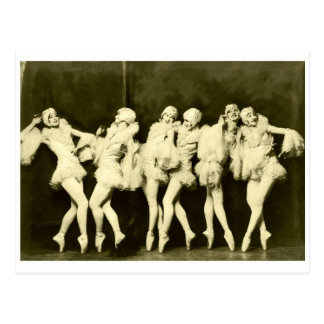 Retro Vintage Beautiful Dancing Women Ballet Dance Postcard