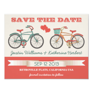 Retro Vintage Bicycles Save the Date 4.25x5.5 Paper Invitation Card