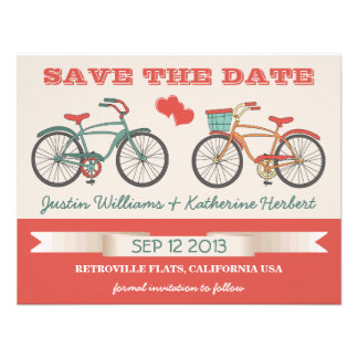 Retro Vintage Bicycles Save the Date Personalized Announcement