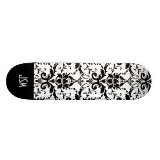 Retro Vintage Black Pattern Damask Custom Monogram Skateboard