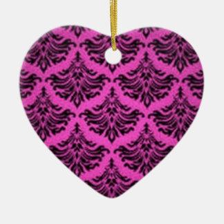 Retro Vintage Black Pink Heart Ornament