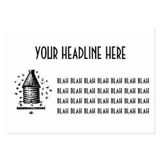 Retro Vintage Black & White Bee Hive & Bees Large Business Card