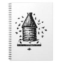 Retro Vintage Black & White Bee Hive & Bees Notebook