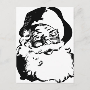 Retro Vintage Black White Christmas Santa Claus Holiday Postcard