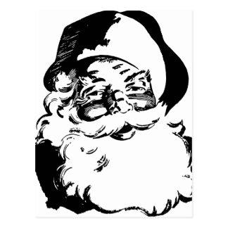 Retro Vintage Black & White Christmas Santa Claus Postcard