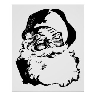 Retro Vintage Black & White Christmas Santa Claus Poster