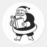 Retro Vintage Black & White Christmas Santa Claus Round Stickers