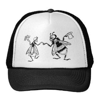 Retro Vintage Black & White Cute Funny Bug Wedding Mesh Hats