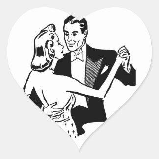 Retro Vintage Black & White Dancing Couple in Love Heart Sticker
