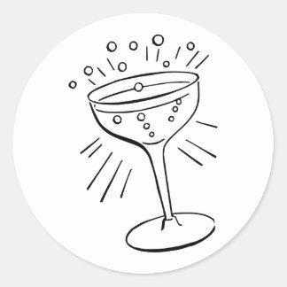 Retro Vintage Black & White Glass of Champagne Classic Round Sticker