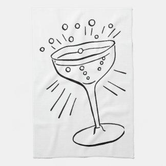 Retro Vintage Black & White Glass of Champagne Towels