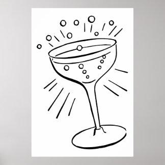 Retro Vintage Black & White Glass of Champagne Poster