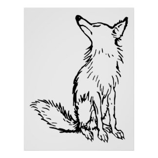 Retro Vintage Black & White Sly Fox Poster