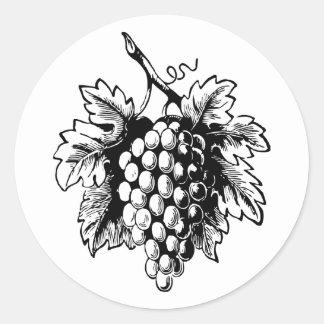 Retro Vintage Black & White Tasty Bunch of Grapes Classic Round Sticker