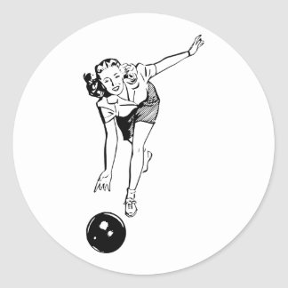 Retro Vintage Black & White Ten Pin Bowling Woman Classic Round Sticker