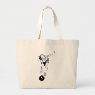 Retro Vintage Black & White Ten Pin Bowling Woman Large Tote Bag